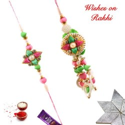 Pearls Multicolor Beads and AD Stud Bhaiya Bhabhi Rakhi Set