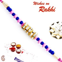 Pink and Blue Beads and AD Studded Stylish Rakhi