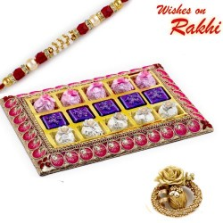 Pink and Gold Chocolate Box with Rakhi hamper