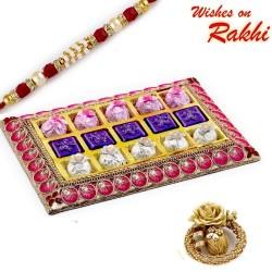 Pink and Gold Chocolate Box with Rakhi hamper