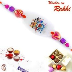 Pink and Purple Beads Doremon Family Motif Kids Rakhi