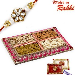 Pink and Silver Assorted Dryfruits Gift Pack with 1 Bhaiya Rakhi
