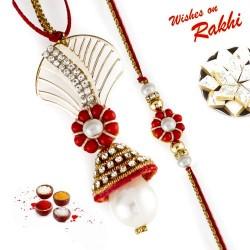 Pleasant Red Floral Zardosi Work Bhaiya Bhabhi Rakhi Set