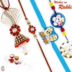 Pleasant Red Floral Zardosi Work Bhaiya Bhabhi Rakhi Set with 2 Kids Rakhi