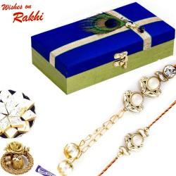 Premium Gift Box Hamper with AD and Pearl Bhaiya Bhabhi Rakhi Set