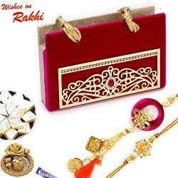 Premium Gift Box Hamper with American Diamond Bhaiya Bhabhi Rakhi Set