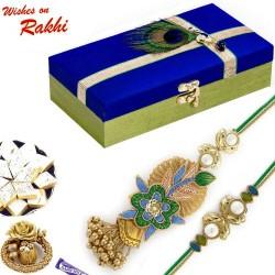 Premium Gift Box Hamper with Floral Design Golden Bhaiya Bhabhi Rakhi Set