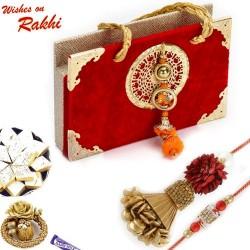 Premium Gift Box Hamper with Floral Work Bhaiya Bhabhi Rakhi Set