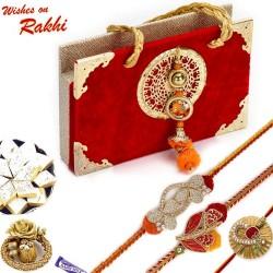 Premium Gift Box Hamper with Floral Work Set of 3 Rakhi