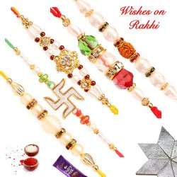 Premium Handcrafted Set of 5 Rakhis