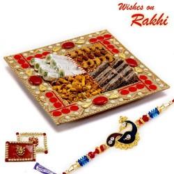 Premium Kaju and Khajur Rolls with Namkeen with FREE 1 Rakhi