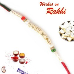Pretty and Beautiful White Pearl Studded Rakhi