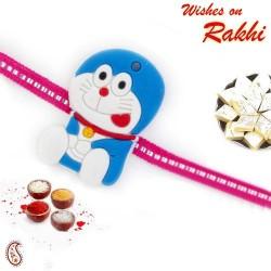 Pretty Doremon Kids Rakhi with Blue Embellished Band