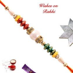 Pretty Pearls AD and Multicolor Beads Studded Rakhi