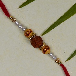 Rudraksh with Pearls and Beads Rakhi