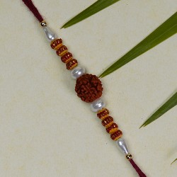 Rudraksh Rakhi with Pearls and Beads Work
