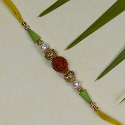 Beautiful Rudraksh Rakhi with Pearls and Beads
