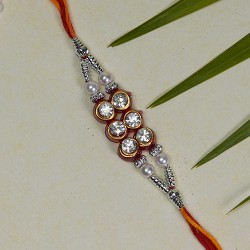 Beautiful AD Beads and Pearls Rakhi