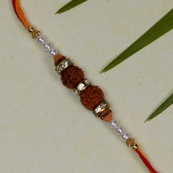 Double Rudraksh with Colored Beads Rakhi
