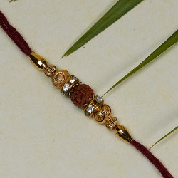 Marvelous Rudraksh with Colored Beads Rakhi