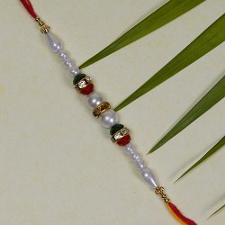 Charming Pearls and Beads Work Rakhi