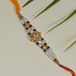 Floral Style AD with Pearls Work Rakhi