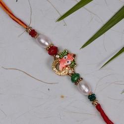 Ganeshji Rakhi with Pearls and Multicolor Beads