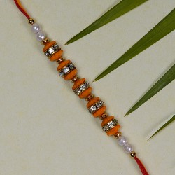 Colored Beads AD and Pearls Rakhi