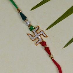 Studded Swastik with Multicolor Beads Rakhi