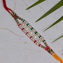 Pearls and Multicolor Beads Rakhi