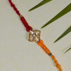 Beautiful AD and Multicolor Beads Rakhi