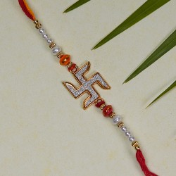 AD Studded Swastik Rakhi with Pearls and Beads
