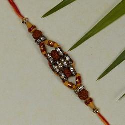 Stylish Rudraksh AD and Beads Rakhi