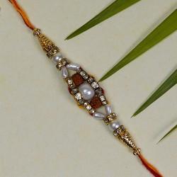 Beautiful Hand Crafted Pearl and Rudraksh Rakhi