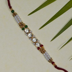 Lovely AD Multicolor Beads and Pearls Rakhi