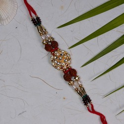 Fancy Rakhi with AD Rudraksh and Beads