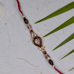Meena Work with AD Pearls and Beads Rakhi