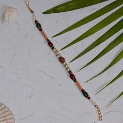 Rudraksh and Multicolor Beads Rakhi