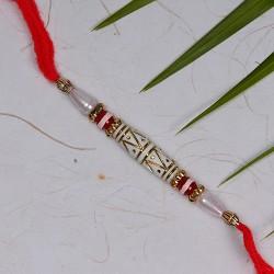 Fancy Beads and White Pearls Rakhi