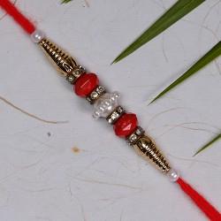 Fancy Pearls Beads and American Diamonds Rakhi