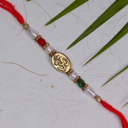 OM with Multicolor Beads and Pearls Rakhi