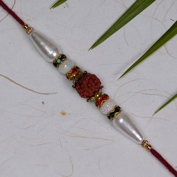 Rudraksh and Pearls with AD Rakhi