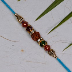 Exclusive Rudraksh with Multicolor Beads Rakhi