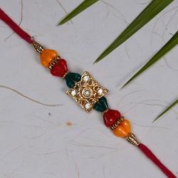 American Diamonds and Multicolor Beads Rakhi