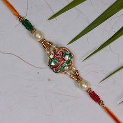 Meenakari SHREE with AD Pearls and Beads Rakhi