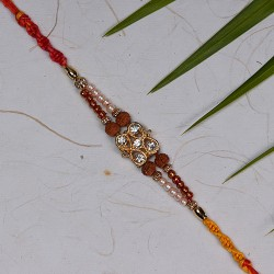 Auspicious Rudraksh Rakhi with Pearls and Beads Work