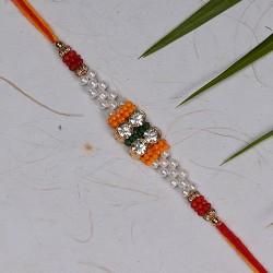 American Diamonds White Pearls and Multicolor Beads Rakhi