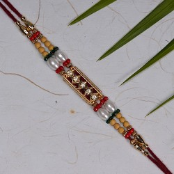 American Diamonds with Pearls and Multicolor Beads Rakhi