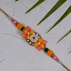 Dazzling Multicolor Beads with AD Rakhi