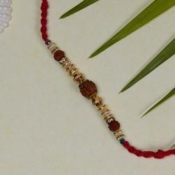 Triple Rudraksh and Beads Rakhi